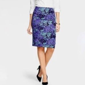 Talbots Purple & Turquoise Floral Pencil Skirt 2 P